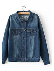 Feminino Jaqueta jeans Moda de Rua Colarinho de Camisa Manga Longa Renda