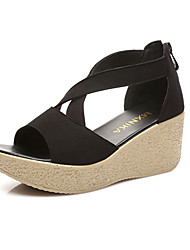 Women's Sandals Club Shoes Synthetic Summer Casual Wedge Heel Ruby Coffee Black White 3in-3 3/4in
