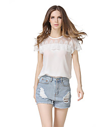 Women's Going out Casual/Daily Holiday Vintage Cute Street chic T-shirt,Floral Round Neck Short Sleeve Polyester