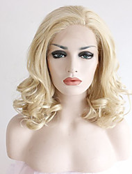 Good Looking Blonde Lace Wigs Heat Resistant Blonde Curly Synthetic Lace Front Wigs Glueless Medium Length Beat Natural Looking Blonde Wig for Women