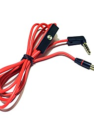 Headphone Cable with Mic Remote Control Talk 3.5mm Male to Male Stereo Audio Cords 120cm Red