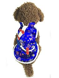 Dog Vest Dog Clothes New Year's Floral/Botanical Blue Ruby