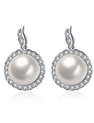 Women's Drop Earrings Imitation Pearl AAA Cubic ZirconiaBasic Unique Design Dangling Style Rhinestone Heart Natural Geometric Friendship