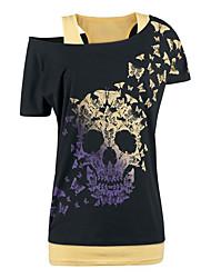 Tee-shirt Femme,Imprimé Plein Air Chic de Rue Eté Manches Courtes Col Arrondi Mélange de Coton Moyen
