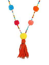 Women's Bohemian Handmade Colorful Pom Pom Long Beaded Chain Tassel Necklace