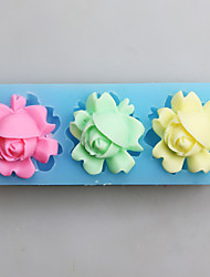 Three Flowers Fondant Mold DIY Silicone Soap Candle Mold Handmade Soap Salt Carved DIY Silicone Food Grade Silicone Mold