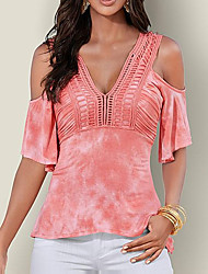 Women's Casual Going out Casual/Daily Sexy Simple Street chic Bandhnu Off Shoulder Spring Summer T-shirtSimple Patchwork V Neck Short Sleeve  Medium
