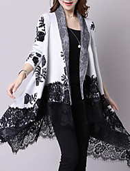 Women's Casual/Daily Simple Long Cardigan,Print V Neck Long Sleeve Cotton Fall Winter Medium Inelastic