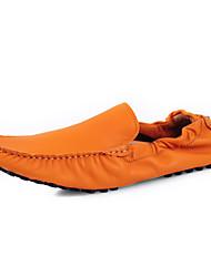 Herren Loafers & Slip-Ons Mokassin Echtes Leder Leder Frühling Sommer Normal Mokassin Orange Grau Pink Grün Burgund Flach