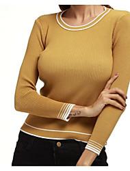 Для женщин На каждый день Офис Простое Уличный стиль Короткий Пуловер Однотонный Полоски,Круглый вырез Длинный рукав Шерсть Хлопок Акрил