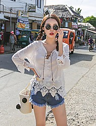 Women's Casual Lawn Date Casual/Daily Sexy Simple Cute All Seasons Summer Blouse,Solid Deep V Long Sleeve Rayon LaceExtraSheer