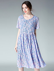 JIANRUYI Women's Party Going out Casual/Daily Sexy Cute Loose Lace DressLace Round Neck Midi Short Sleeve Polyester Lace Summer High Rise