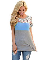 Tee-shirt Femme,Couleur Pleine Quotidien Décontracté simple Eté Demi Manches Col Arrondi Polyester Spandex Moyen