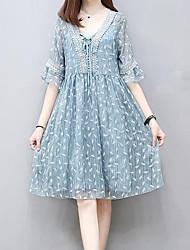 Patineuse Robe Femme Décontracté / Quotidien Imprimé Col en V Mi-long Demi Manches Polyester Eté Taille Haute Non Elastique Moyen