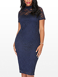 Women's Plus Size Going out Party Sexy Simple Street chic Bodycon DressPatchwork Lace Over Hip Crew Neck Midi Short Sleeve Spring Summer High Rise