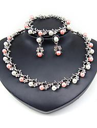 Mujer Juego de Joyas Los sistemas nupciales de la joyería Collar con perlas Perla artificial Cristal Moda Euramerican ClásicoForma de
