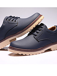 Men's Sneakers Combat Boots Leatherette Fall Winter Casual Outdoor Office & Career Combat Boots Low Heel Light Brown Dark Blue Under 1in