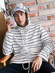 Men's Casual Hoodie Striped Hooded Inelastic Cotton Long Sleeve Spring