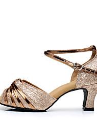 Damen Latin Glitzer Paillette Kunststoff Sandalen Absätze Sneakers Innen Rüschen Verschlussschnalle Gerafft Glitter Kubanischer Absatz