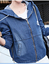 Women's Daily Modern/Comtemporary Fall Denim Jacket,Solid Hooded Long Sleeve Short Others