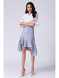 Chemise Jupe Costumes Femme,Fleur Bureau/Carrière Formel Travail Chic & Moderne Soutenir Chemises Eté Manches 1/2 Col en V A Volants