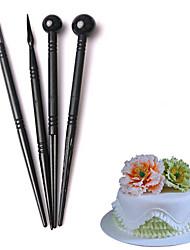 4 pcs/set Plastic Flower Petals Modeling Mold Black Cake Baking Decoration Pen Sugar Flower Sculpture Modeling