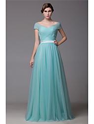 Vestido de dama de honra de comprimento de chão de uma linha