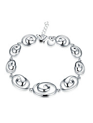 Exquisite Silver Plated Oval Style Chain & Link Bracelets Jewellery for Women Accessiories