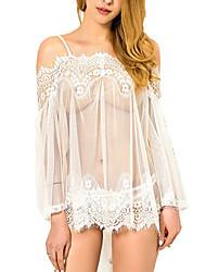 Shaperdiva Sexy Transparent Lace Long Sleeve Babydolls Dress Lingeries