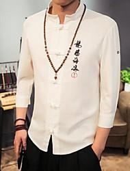 Hombre Simple Casual/Diario Trabajo Camisa,Escote Chino Un Color Manga 3/4 Algodón Lino Otro