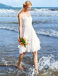 LAN TING BRIDE Trapèze Robe de mariée - Chic & Moderne Petites Robes Blanches Mi-long Bretelles Fines Mousseline de soie avecCeinture /