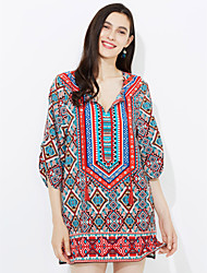 Women's Boho Going out Casual/Daily Simple Street chic Sheath Dress,Rainbow V Neck Knee-length ½ Length Sleeve PU Spring Mid Rise Micro-elastic