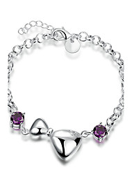 Exquisite Silver Plated Purple Crystal Bow Tie Chain & Link Bracelets Jewellery for Women Accessiories