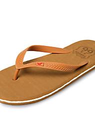 Men's Slippers & Flip-Flops Comfort Summer PU Outdoor Navy Blue Light Brown Flat