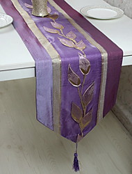 Modern Chinese Jacquard Leaves Cotton And Linen Table Flag 33*195cm