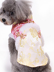Dog Costume Dog Clothes New Year's Embroidered Blushing Pink Yellow