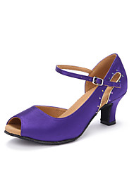 "Women's Latin Satin Heels Indoor Rhinestone Customized Heel Purple 2"" - 2 3/4"" Customizable"