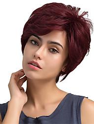 Pelucas del pelo humano del pelo corto de la franja parcial mullida natural para la mujer