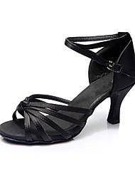 Women's Latin Silk Sandals Indoor Customized Heel Black Customizable