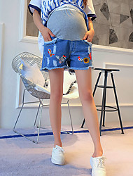 Pregnant Woman's Fashionable Comfortable And Cool Cowboy Abdominal Holes Embroidery Shorts