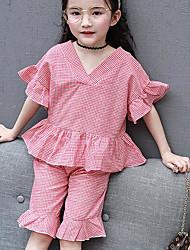 Девочки Наборы Хлопок Клетка Лето Набор одежды