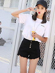 Women's High Waist Inelastic Jeans Shorts Pants,Simple Relaxed Denim Solid