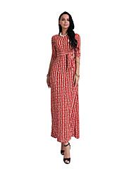 Feminino Tubinho Bainha Vestido,Casual Bandagem Feriado Para Noite Sensual Vintage Boho Xadrez Decote Redondo Longo Meia Manga Algodão