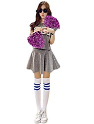 Cheerleader Costumes Outfits Women's Performance Stretch Satin Pattern/Print 2 Pieces Short Sleeve High Skirts Tops