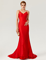 Mermaid / Trumpet Spaghetti Straps Court Train Lace Taffeta Formal Evening Dress with Buttons Lace by TS Couture®