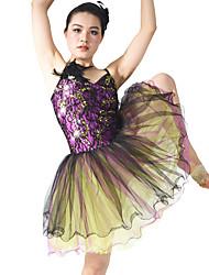 Balé Vestidos Mulheres Actuação Elastano Poliéster Lantejoulas Renda Frufru Penas/Pêlo 1 Peça Sem Mangas Natural Vestido