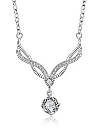 Women's Pendant Necklaces Cubic Zirconia  Fine Silver Classic Elegant Jewelry For Wedding Anniversary Party/Evening