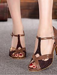 Для женщин Танцевальные кроссовки Полиуретан На каблуках Для открытой площадки Коричневый