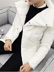 Masculino Casaco Capa,Simples Activo Sólido Diário Casual-Algodão 100% algodão Penas de Pato Branco Manga Longa