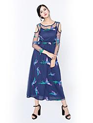Для женщин Для вечеринок Праздники На каждый день Секси Очаровательный Уличный стиль Оболочка Платье С животными принтами,Круглый вырез